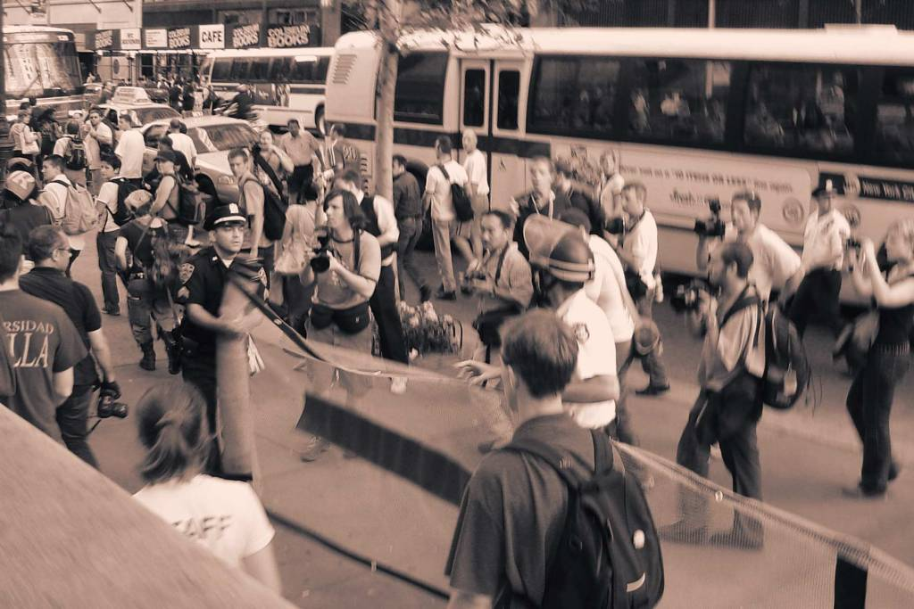 New York City police unspool crowd control nets in 2004 during protests against the Republican National Convention.
