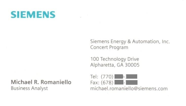 Siemens E&A, Business Analyst