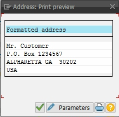 The Address Print Preview pop-up box when both sets of address fields are maintained with default settings.