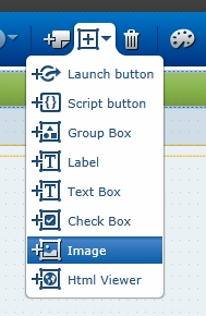 Scripts, groups, images and more are added from the object menu.