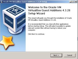 Installing VirtualBox VBoxAdditions.