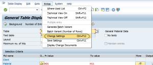 SE16n: Access Settings Screen
