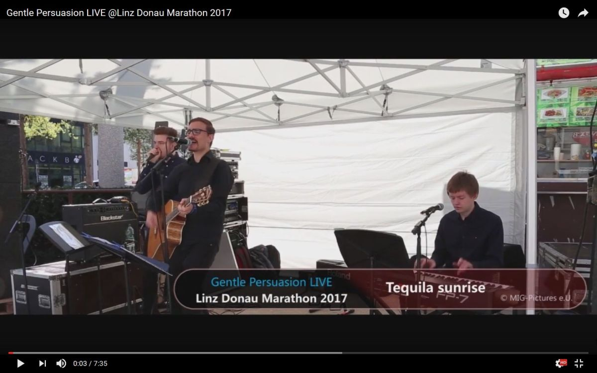 "VIDEO / LIVE-MITSCHNITT: Jazz.Pop.Rock-Ensemble ""Gentle Persuasion"" LIVE @Linz Donau Marathon 2017, 9.4.2017"