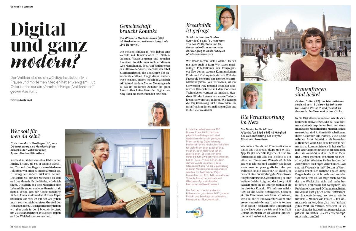 """Jetzt online nachlesen: """"Digital und ganz modern?"""" - 6D / WELT DER FRAUEN-exklusiv / #eurotours2017 - Italien - #FRAUEN #digitaleKIRCHE #Magazinjournalismus #Recherche"""
