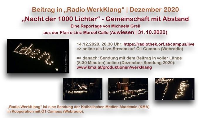 Online Reportage hören: Nacht der 1000 Lichter – Gemeinschaft mit Abstand / Beitrag in Radio WerkKlang / KMA / Ö1 Campus