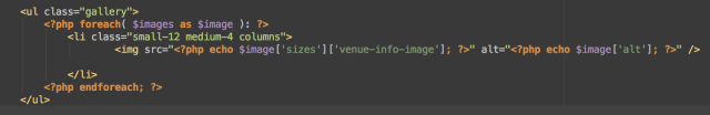 Code Example for The Scene Venue Information Page