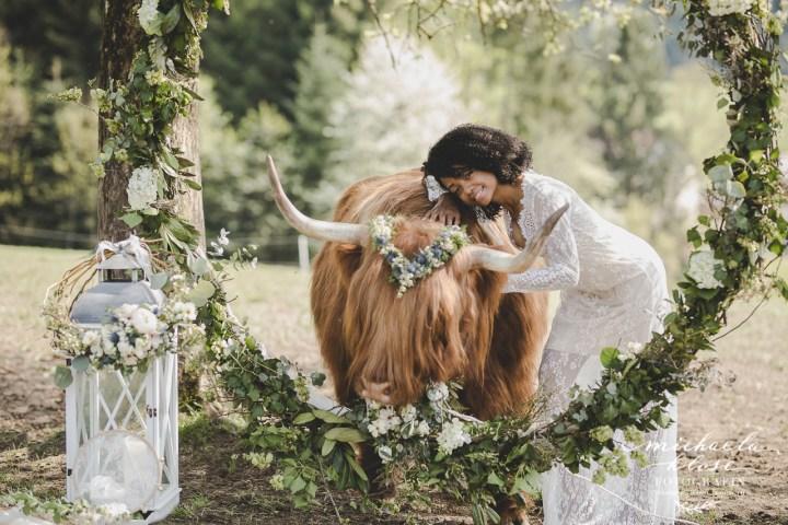 Brasilian Bride with schottish Highlandcattle