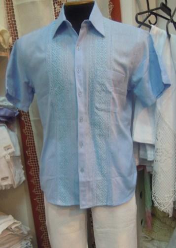 Pastel Blue guayabera made by Textiles Latinos
