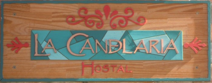 There are several hostels in Candelaria. This is the sign for one of them.