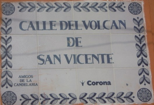 Porcelain tile street sign in Candelaria