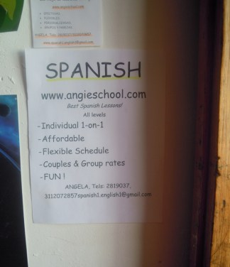 Not unusual to see signs like this advertising Spanish lessons at places in Candelaria