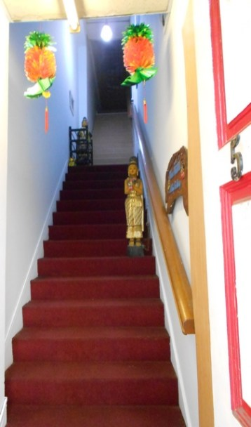 Stairs going to second stories are sometimes well decorated