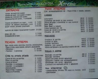 Main menu @ Cocina de Colombia