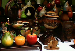 a fruit figures containers of wood