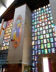 Stained glass wall Catedral Metropolitana María Reina