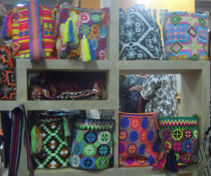 Very colorful mochilas were available