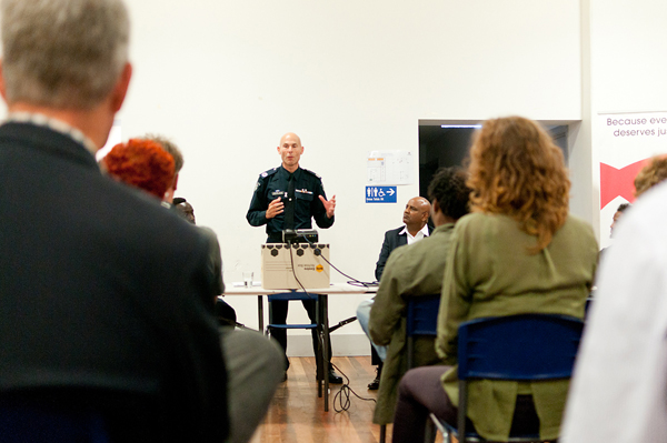 Deputy Commissioner Andrew Crisp speaks at a forum on racial profiling in Footscray. Image: Aaron Claringbold