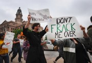 """""""Fracking"""" Protest in Fort Worth, Texas"""