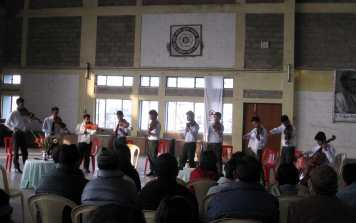 Gandhi Students on stage Darjeeling Feb 26 2014
