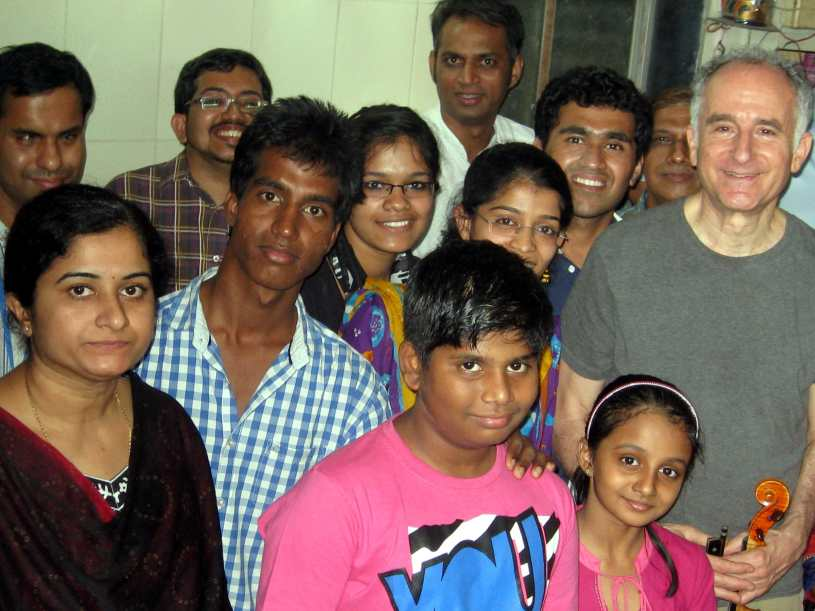 Michael with students after class in Mumbai Feb 5 2014 2