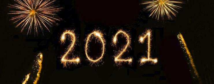 Fireworks which explode to say 2021