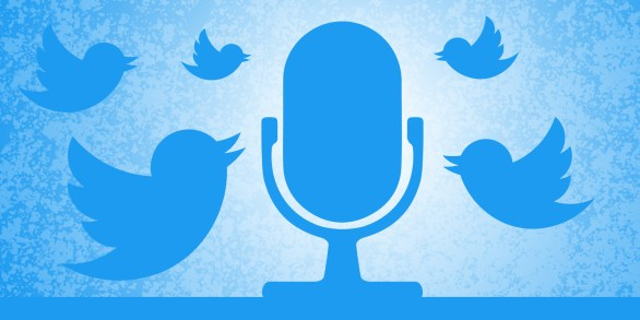 Twitter birds surrounding a microphone to showcase Twitter Spaces.