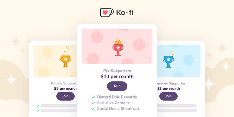Ko-Fi Membership Tiers