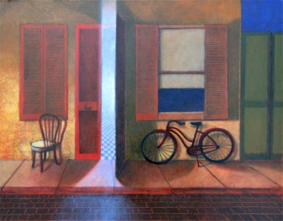 Bike Alley, bicycle, bike art, oil painting, oil on canvas, Michael Chambers