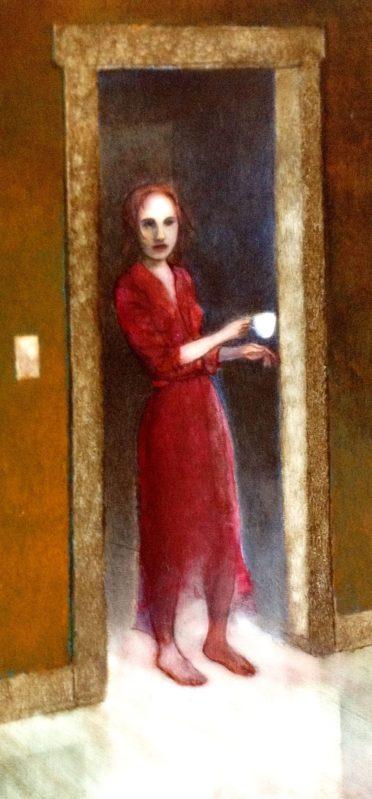 Jo the houseghost, painting in progress, Michael Chambers, oil on board