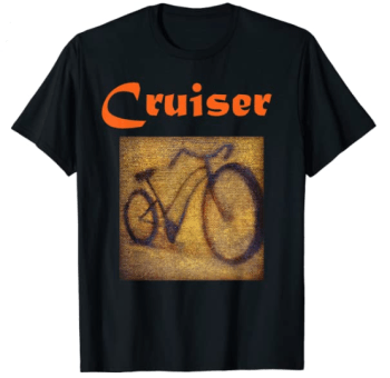Tee shirt with picture of a cruiser-style bicycle