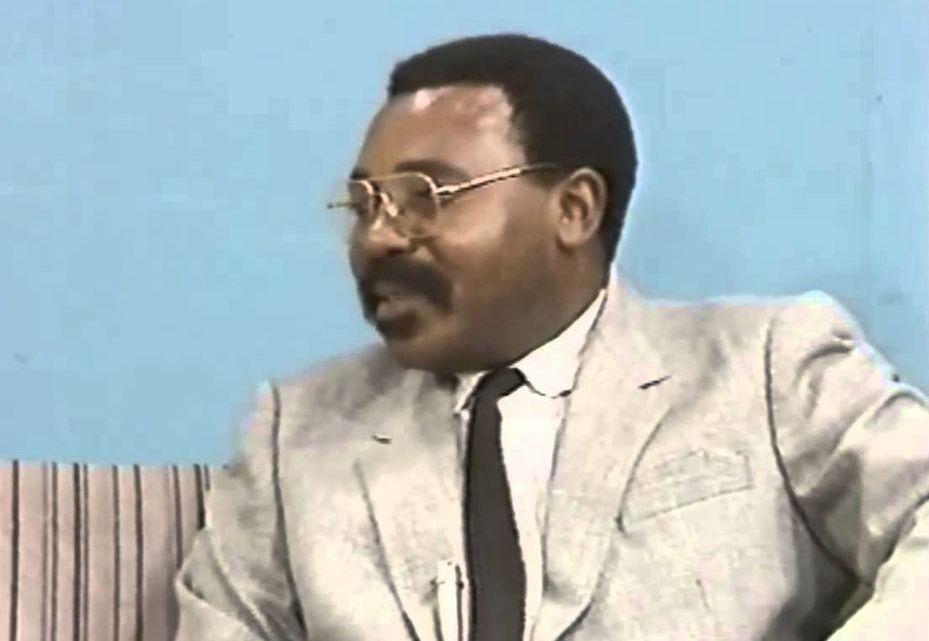 PHOTO: Zambian journalist Marc Boti interviewing Zambian musician Larry Maluma on ZNBC in Lusaka, Zambia in 1990