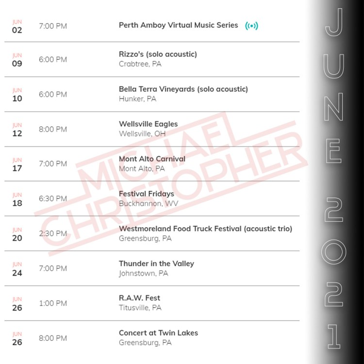 June 2021 Dates - Michael Christopher Band
