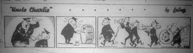 Uncle Charlie comic. Large man yells at a smaller man, who paints the large man's face on his bass drum, then beats on it. The large man is the marching band leader.