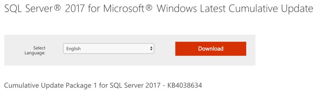 SQL Server 2017 Cumulative Update 1