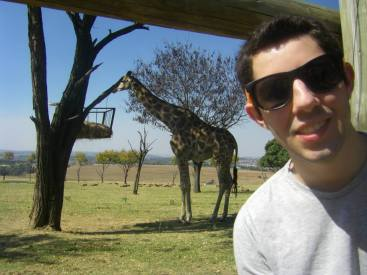 Hey, look! I did it! That's a real giraffe in South Africa!
