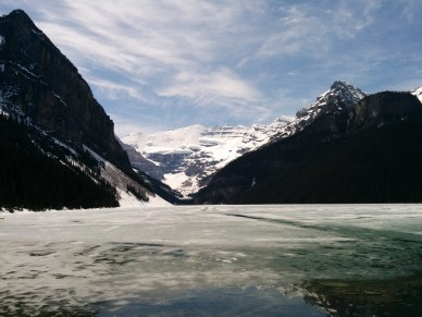 Lake Louise all frozen over.
