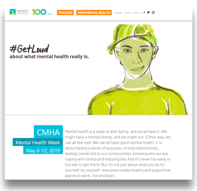 Screenshot of CMHA website showing #getloud about what mental health really is