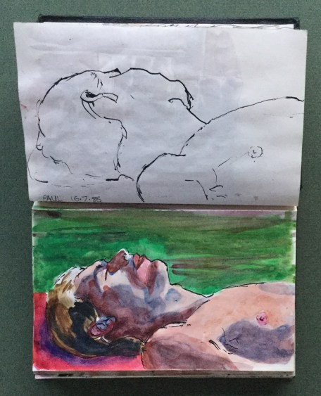 Sketchbook, Paul Sunbathing, July, 1986