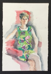 Portrait, MT in Floral Dress, 1986