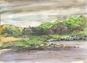 Pen, wax crayon and watercolor, with wax resist, 9 x 12 in.,