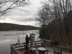MG painting, Upton Lake, Thanksgiving, 2019