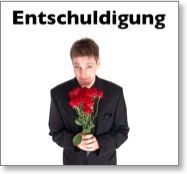 Entschuldigung - Mann entschuldigt sich scheinheilig mit einem Blumenstrauß