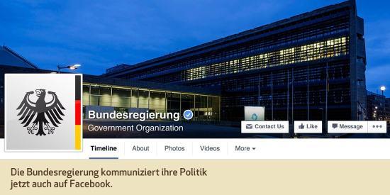 Die Bundesregierung kommuniziert ihre Politik jetzt auch auf Facebook.