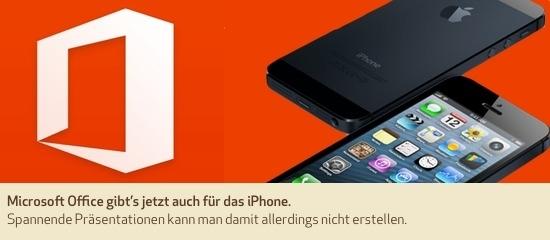 Microsoft Office gibt's jetzt auch für das iPhone. Spannende Präsentationen kann man damit allerdings nicht erstellen.