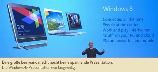 Eine große Leinwand macht nocht keine spannende Präsentation. Die Windows-8-Präsentation war langweilig.