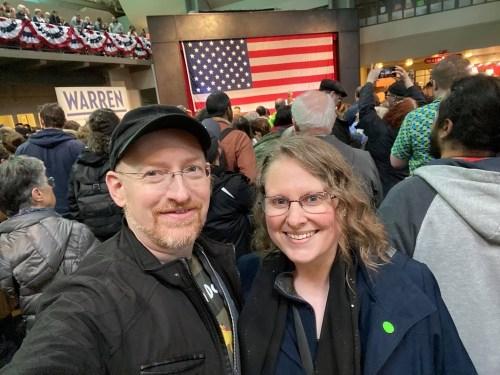 Prairie and I at the Elizabeth Warren rally