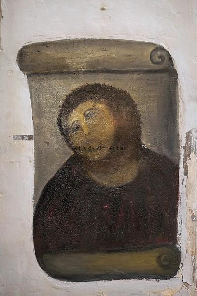 A close up of the restored Ecco Homo of Borja