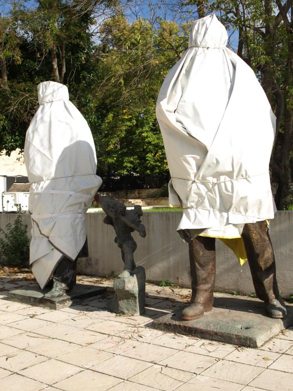 Lenin and Stalin under wraps