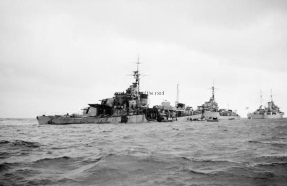 HMS Samaurez on tow back to Corfu harbour