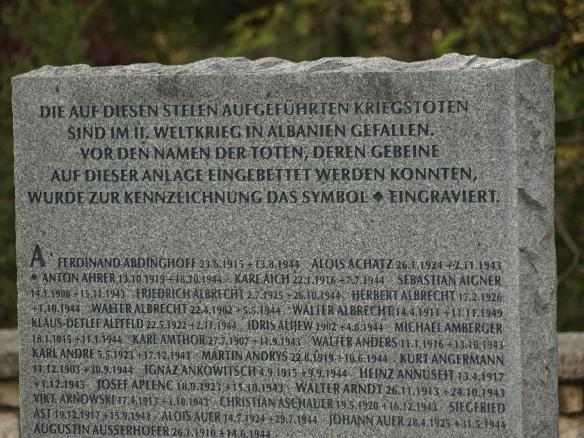 Engraved stone, German War Memorial, Tirana, Albania